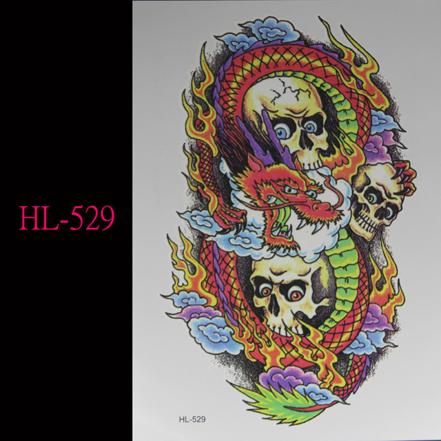 b8216049f63c2 Chinese dragon skeletons 3d tattoo Temporary Tattoo Stickers Flash tattoos  sex Men and women general arm