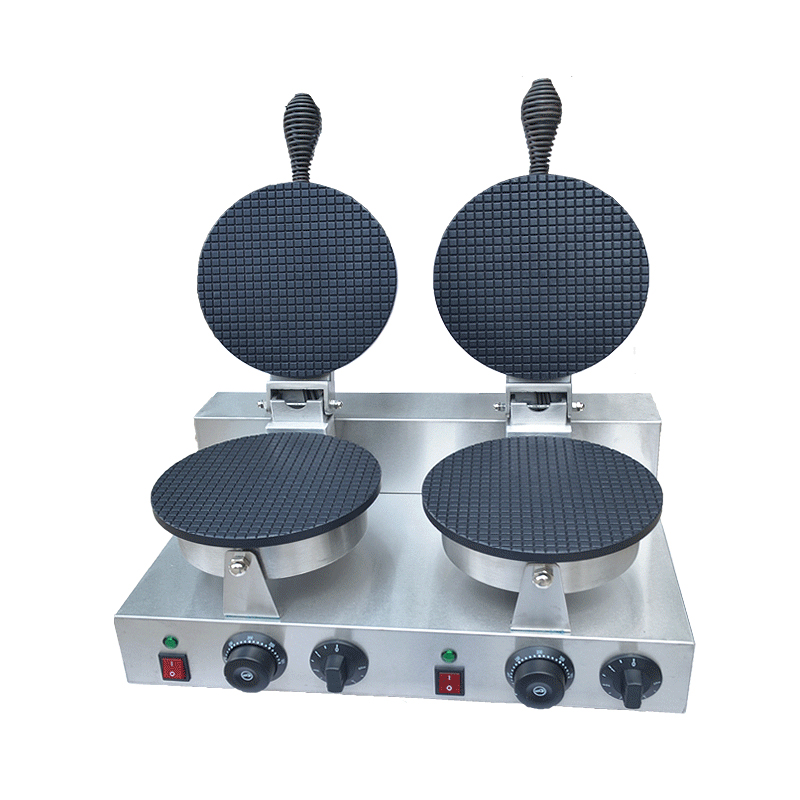 110V 220V 2600W Commercial Double Head Waffle Maker Ice Cream Leather Maker 2 Plate Cone Baker Egg Roll Skin Machine edtid new high quality small commercial ice machine household ice machine tea milk shop