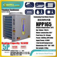 5P air source heat pump with titanium condenser is good choice for 25~35sqm swimming pool. It keeps water temperature stable
