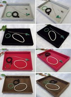 Wholesale Lot Black White Red Brown Velvet Jewelry Display Tray Box Organizer Fit Earrings Bracelet Chain