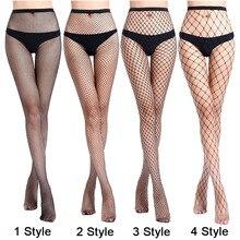 Для женщин сексуальные прозрачные облегающие, в сеточку колготки Клубные вечерние чистая отверстия черные колготки, чулки с эластичным бортом, малый/средний/большой сетки CW24