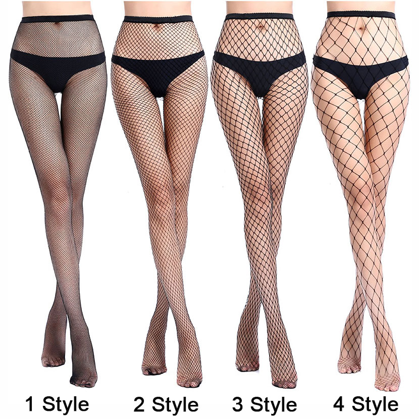 Women Sexy Transparent Slim Fishnet Pantyhose Club Party Net Holes Black Tights Thigh High Stockings Small/Middle/Big Mesh CW24 image