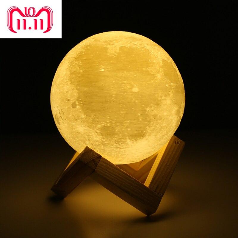 Recargable 3D imprimir Luna Lámpara 2 cambio de Color Interruptor táctil dormitorio estantería niños luminaria de luz de decoración para el hogar