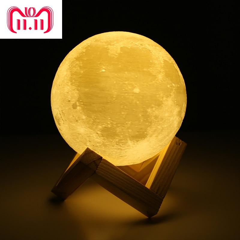 Wiederaufladbare 3D Print Mond Lampe 2 Farbe Ändern Touch Schalter Schlafzimmer Bücherregal Kinder kinder luminaria Tisch Nachtlicht Wohnkultur