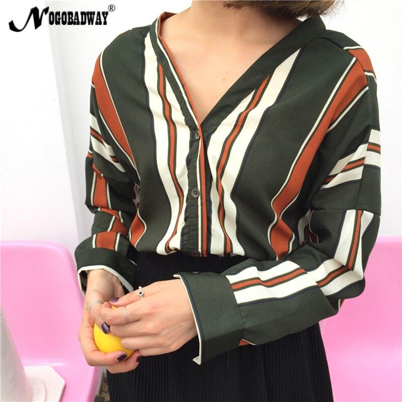 Prin nogobadway 2017 summer tops blusa de las mujeres camisa de rayas sexy dama