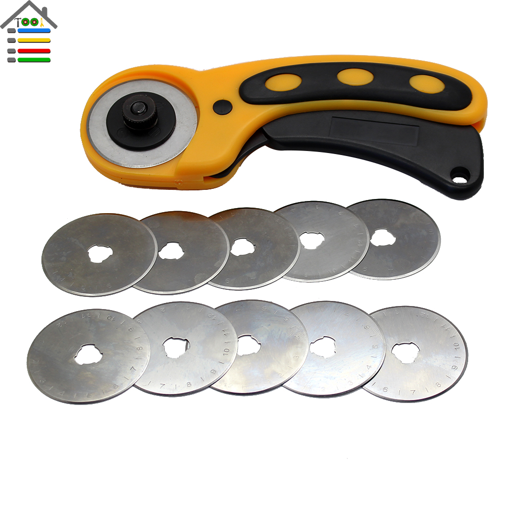 45mm rotary cutter set with 10pc spare blades fit olfa dafa fiskars cutting fabric paper. Black Bedroom Furniture Sets. Home Design Ideas
