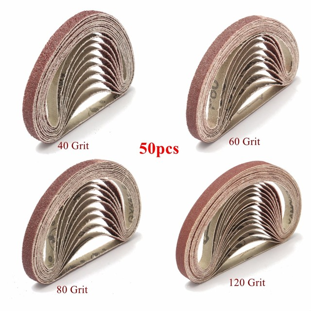 50 PCS 40/60/100/120 Grit Sanding Belts Metal Grinding Aluminium Bands Polisher Oxide Sander 10 x 330 mm