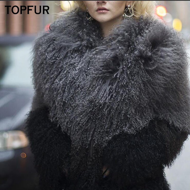 TOPFUR New 2018 Luxury Real Sheep Fur Coat For Women Winter Fur Jacket Top Quality Thick Warm Natural Mongolia Sheep Fur Coat