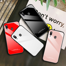 LISM Fashion Simple Plain Tempered Glass Phone Case Cover For Samsung Galaxy A30 A40 A60 A10 A50 A70 Anti-knock Protector