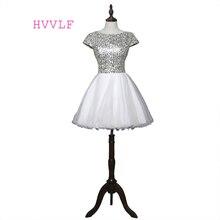 Элегантные платья для выпускного вечера трапециевидные Короткие мини-платья из органзы с блестками и открытой спиной
