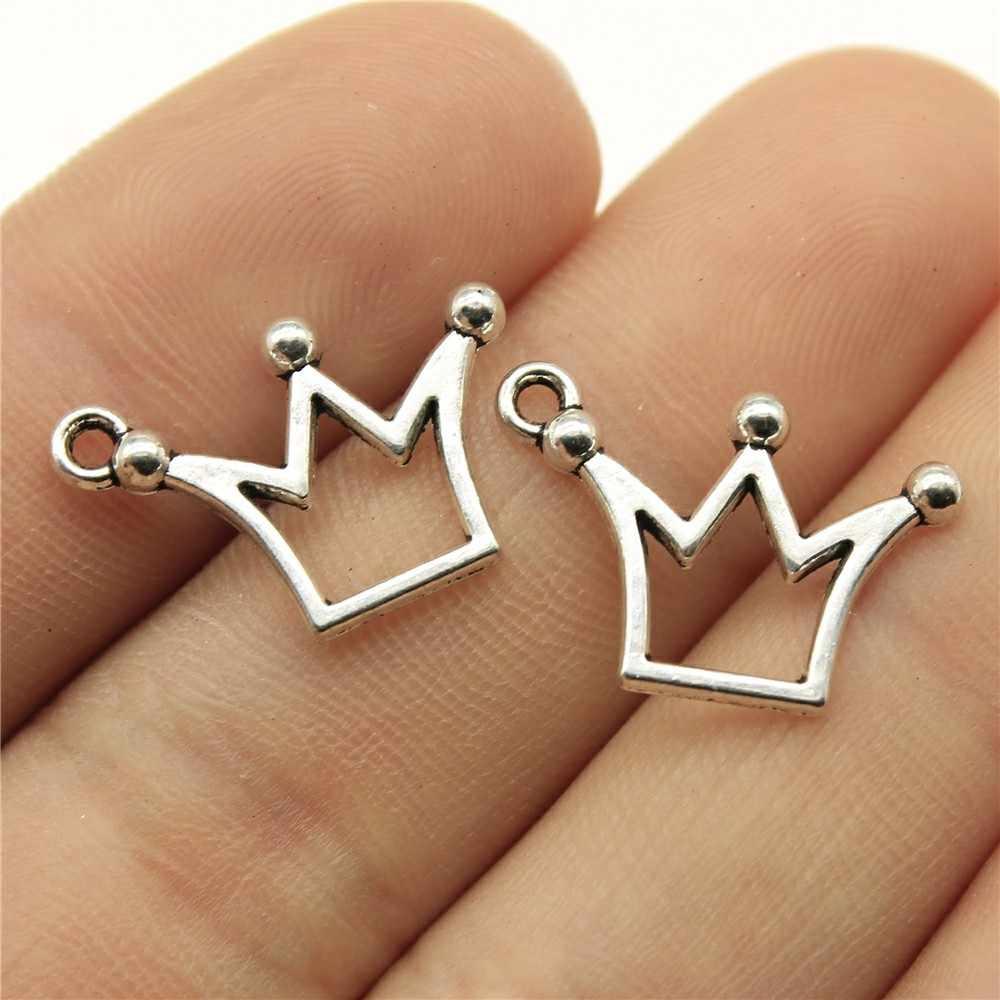 40pcs Hiasan Kecil Crown 0.8x0.5 Inch (20x13mm) warna Perak antik Liontin Pesona Untuk Pembuatan Perhiasan DIY Perhiasan Aksesoris