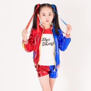 Image 3 - ใหม่เด็กฮาโลวีนชุดคอสเพลย์หญิงเสื้อผ้าเด็กเสื้อแจ็คเก็ตคอสเพลย์ชุด3ชิ้นเสื้อแจ็คเก็ต + เสื้อ + กางเกงขาสั้น