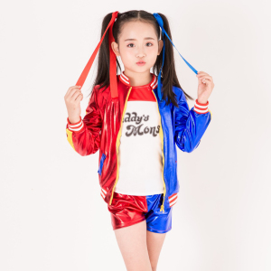 Image 3 - New Kids Halloween Cosplay Costumes Girls Clothing Children Jacket Cosplay Suit 3 pcs Jacket+T shirt+Shorts