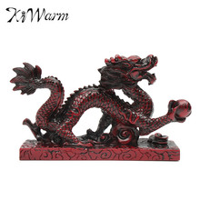 """KiWarm New Arrival Vintage Resin RED Chinese Feng Shui Dragon Figurine Statue for Luck and Success 6"""" Loong 14*4*9CM"""