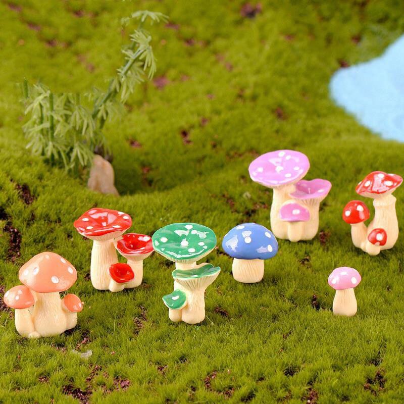 Mini Mushroom Figurines Bonsai Crafts Micro Landscape Fairy Garden Decor DIY G