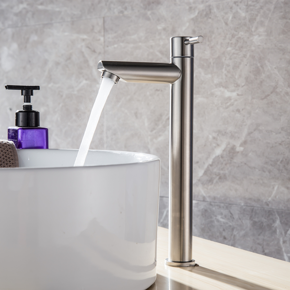 304 Stainless Steel Basin Faucets Single Cold Bathroom Faucet Single Handle Basin Mixer Tap Brass Sink Bath Faucet 10