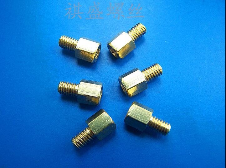 M4 *5 6 7 8 9 10 12 14 15 16 17 18 20 25-60MM + 6MM single-head Hexagon Copper pillars cylinder Outside screw tooth length:6MM