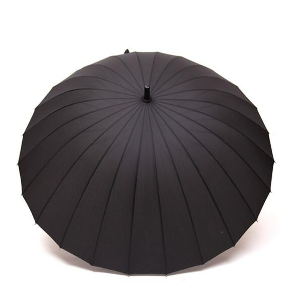 High Quality 24 Rib Firm Solid Windproof Long Straight Handle Anti-UV Sun/Rain Stick Large Outdoor Umbrella Manual Big Parasol