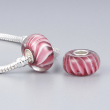 Pink Stripes DIY Round Resin Beads Charms Big Hole Available for Pandora European Jewelry Bracelet Bangle