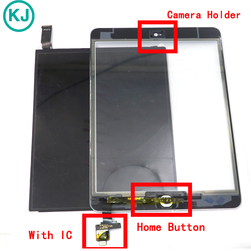 LCD Touch Panel For iPad Mini 1 / 2 / 3 Display Screen Digitizer Front Glass with IC Home Button Sticker Camera Holder Assembly