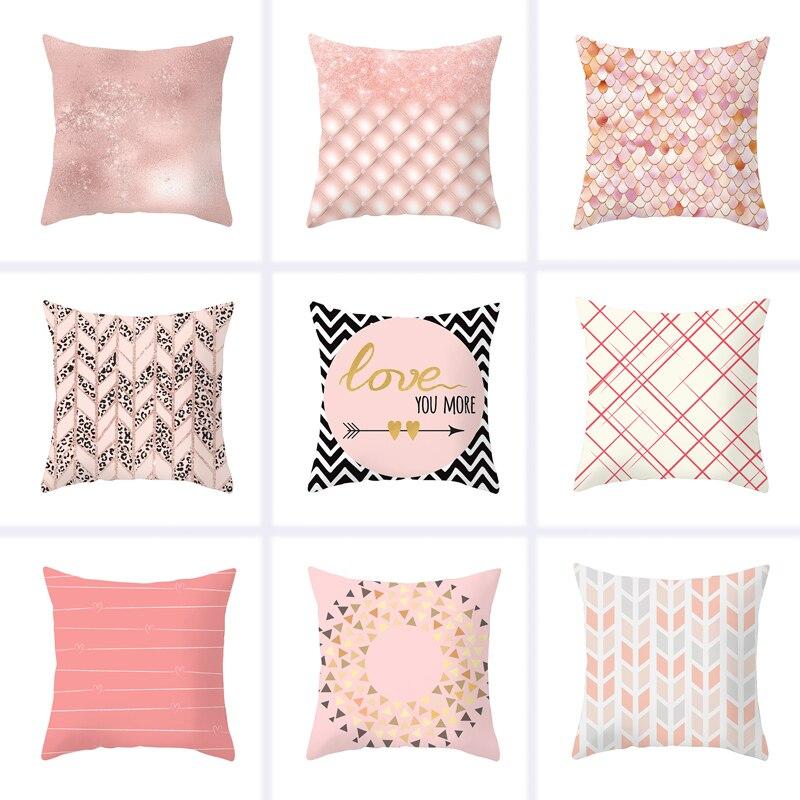 45x45cm Modern Minimalist Geometric Pillowcase Decorative Pillow Peach Skin Cushion Waist Decorative Pillows Cover