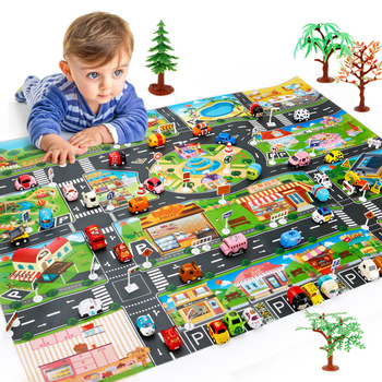 Traffic Road Sign Car Model Parking Lot Map Crawling Mat Enlarge Waterproof Simulation Toy City Playing Portable Floor Game J1 image