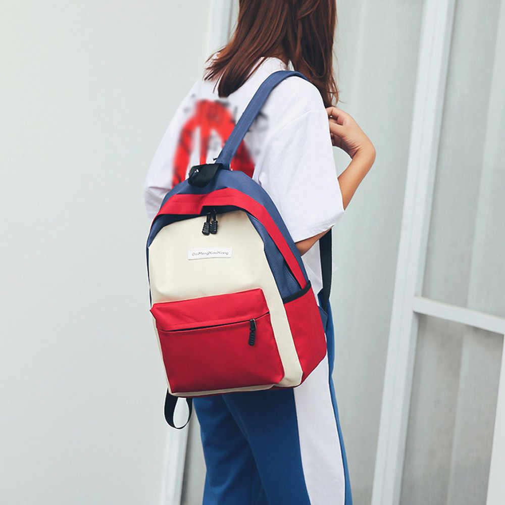 b3ba49464ea4 ... Students Nylon Hit Color Shoulder Backpack Bag Teeagers Design  Schoolbag Tote Casual Daypack In Backpacks Women ...