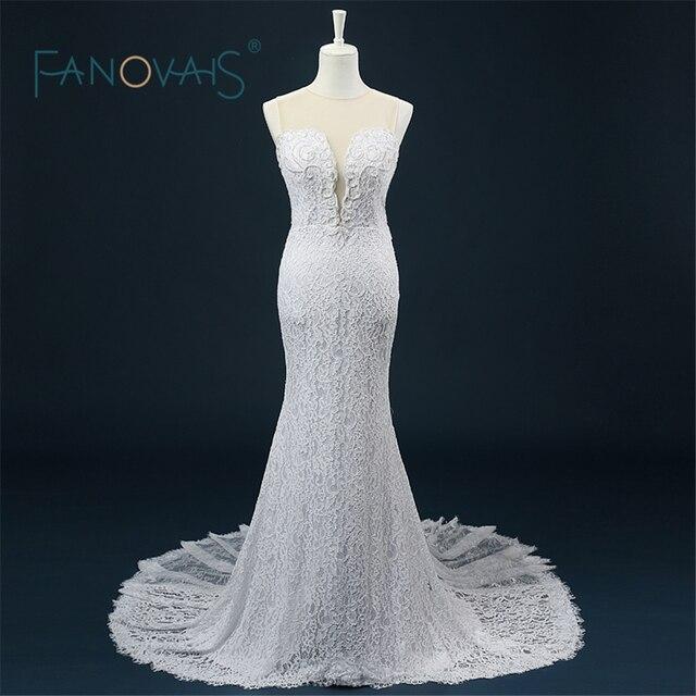 Hochzeitskleid Romantische Echt Bild Brautkleid Perlen Durchsichtig ...
