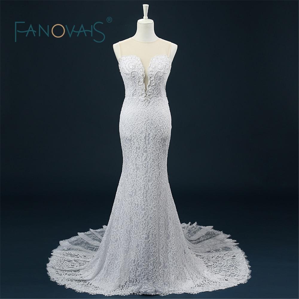 Hochzeitskleid Imagen real romántica Vestido de novia Perlas Rebordear Ver a través Volver Sirena Vestido de novia de encaje de alta calidad ASAW34