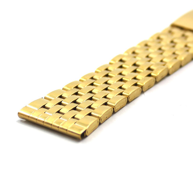18mm 20mm 22mm Watch band Replacement Luxury Gold Iron Metal Watch Straps Fold Over Clasp Buckle Bracelet for Men Women Watches