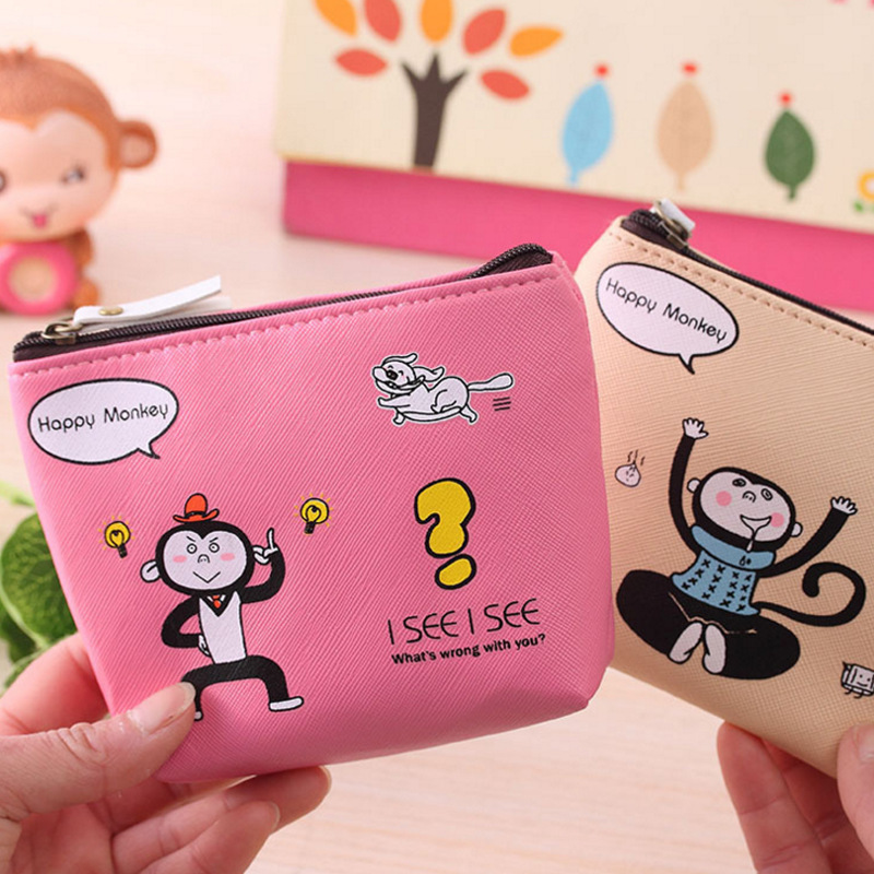 Coin Purses Wallet For Girl Women Lovely Animal Monkey Small Design Coin Money Bag Mini Zipper Key Pouch Wallet Monedero Mujer fashion women coin purses dots design mini girl wallet triple zipper clutch bag card case small lady bags phone pouch purse new