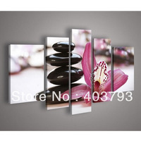 5 Panel Wall Art Botanical pink flower stone Feng Shui Orchid Oil Painting On Canvas Wall Art For Living Room