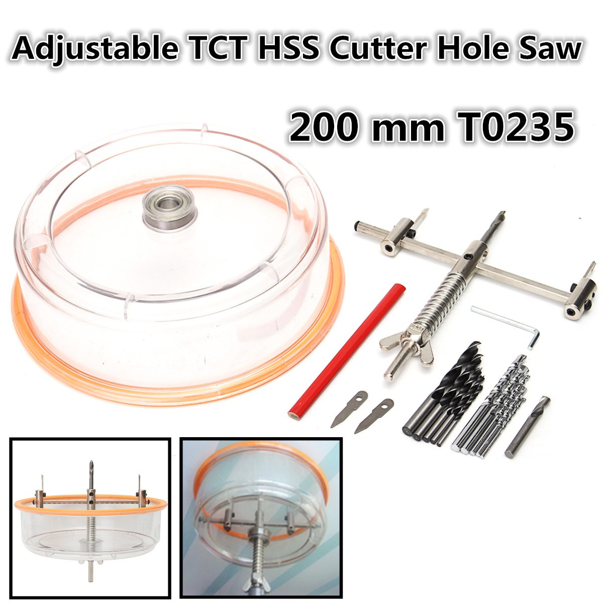 1Set New High Quality Adjustable Downlight Holesaw Ceiling Wall TCT HSS Cutter Hole Saw 200 mm T0235 pegasi high quality 5pcs 50 sizes hss