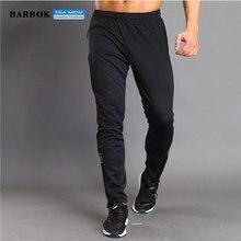 BARBOK Esportes Execução Calças Listradas dos homens Respirável Tênis De Basquete Calças de Treinamento de Fitness Jogging Sweatpants Preto