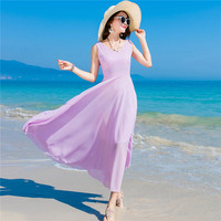 Holiday Hot Sale Rushed Solid Chiffon Dress 2019 Summer Women's Dresses Tall Waist Sleeveless V neck Women Party Vestidos Mujer