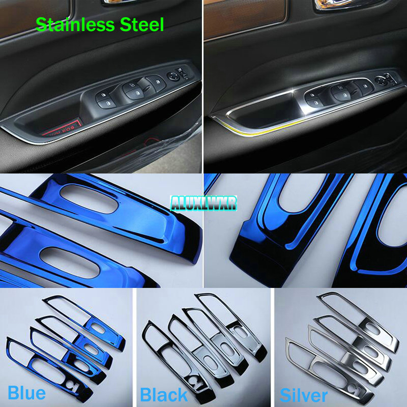 Fit For Renault Koleos Samsung QM6 2017 Car Interior Stainless Steel Window Lift Button Panel Decorative Cover Trim Accessories