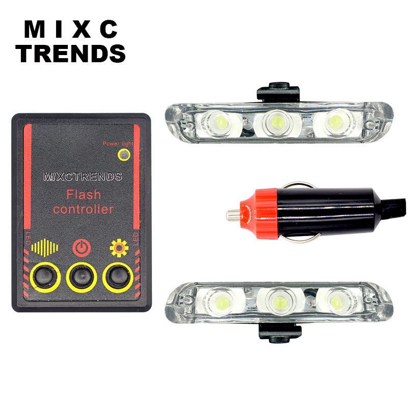 MIXC TRENDS police Stroboscope automobile 12v 6w LED car flasher light Day lights for car waterproof strobe controller