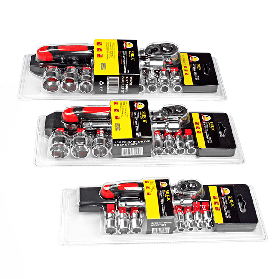 SHE.K Ratchet Wrench 1/2 3/8 1/4 Socket Set For Car Repair Tool Ratchet Torque Wrench Combination Professional Spanner Set Tools mainpoint 1 4 1 2 3 8 e socket sockets set cr v torx star bit combination drive socket nuts set for auto car repair hand tool