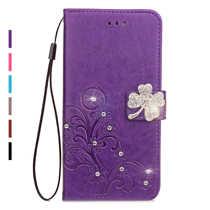 Bling Diamond Rhinestone Leather Case For Huawei Honor 7A DUA-L22 Flip Wallet Stand Cover For Honor 7A Russian Version 5.45 inch