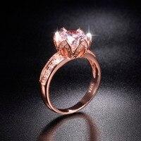 Khuyến mãi!!! 8 $ Thực Sự Vững Chắc 100% 925 Bạc & rose gold Lotus flower Nhẫn Wedding Trang Sức cho Nữ Kim Cương Simulated 2ct vòng