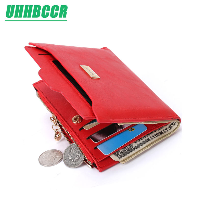 UHHBCCR New Top Brand Fashion Zipper PU Leather Coin Card Holder Photo Holders Women Purse Wallet Female Purse Red Wallet