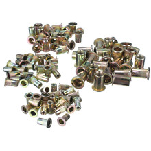 MTGATHER Threaded Carbon Steel Rivet Nut Rivnut Inserts M4. M5. M6. M8. 100 Mixed Pack Large Flange Knurled Body New Arrival