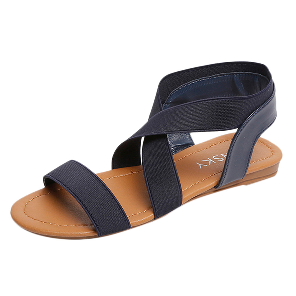 Frauen Schuhe DemüTigen Youyedian Schuhe Frauen Niedrigen Ferse Peep-toe Sandalen Anti Schleudern Cross Strap Sandalen Frauen Casual Flache Sandalen Mujer # G2