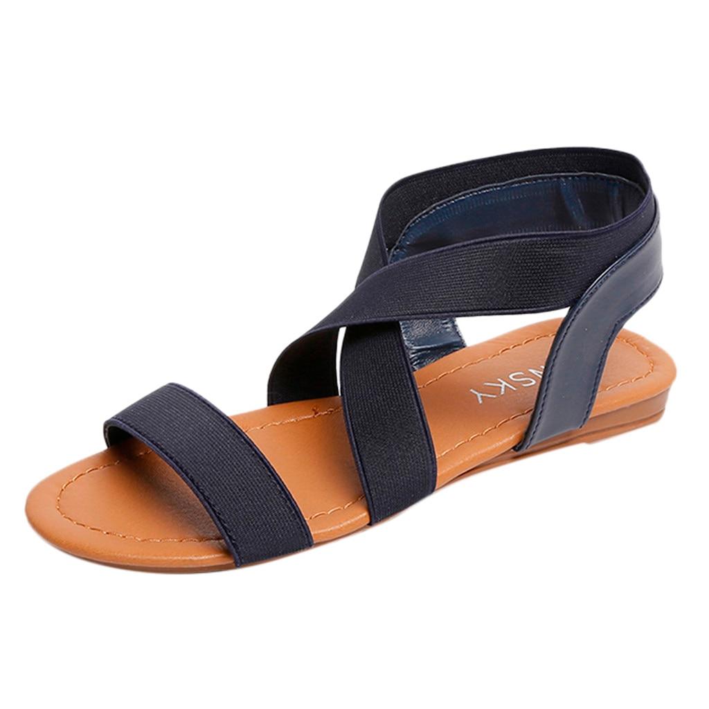 Schuhe Frauen Sandalen DemüTigen Youyedian Schuhe Frauen Niedrigen Ferse Peep-toe Sandalen Anti Schleudern Cross Strap Sandalen Frauen Casual Flache Sandalen Mujer # G2