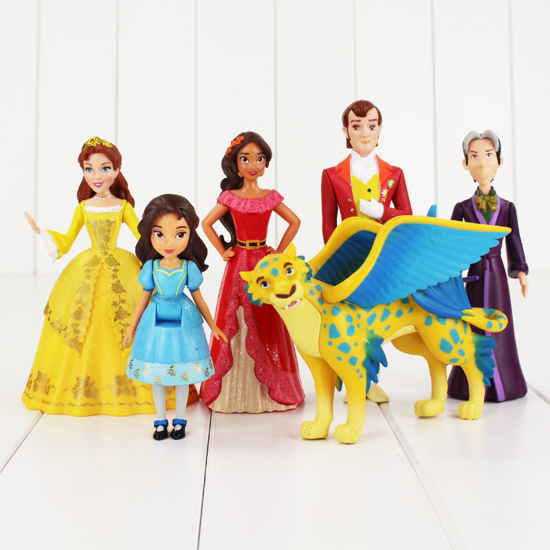 Hot 6pcs lot elena of avalor Ariel Cinderella Snow white Sofia Bella Princess Action Figure Toys