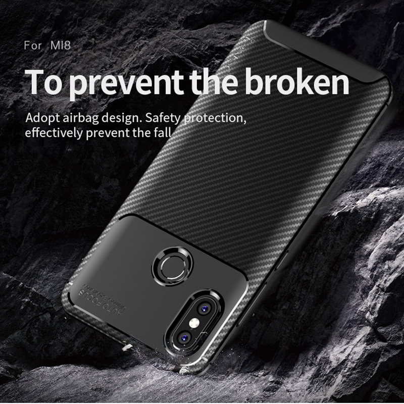 för Xiaomi Mi 8 Väska IPAKY Mi 8 Väska Silikon TPU Kolfiber - Reservdelar och tillbehör för mobiltelefoner - Foto 4