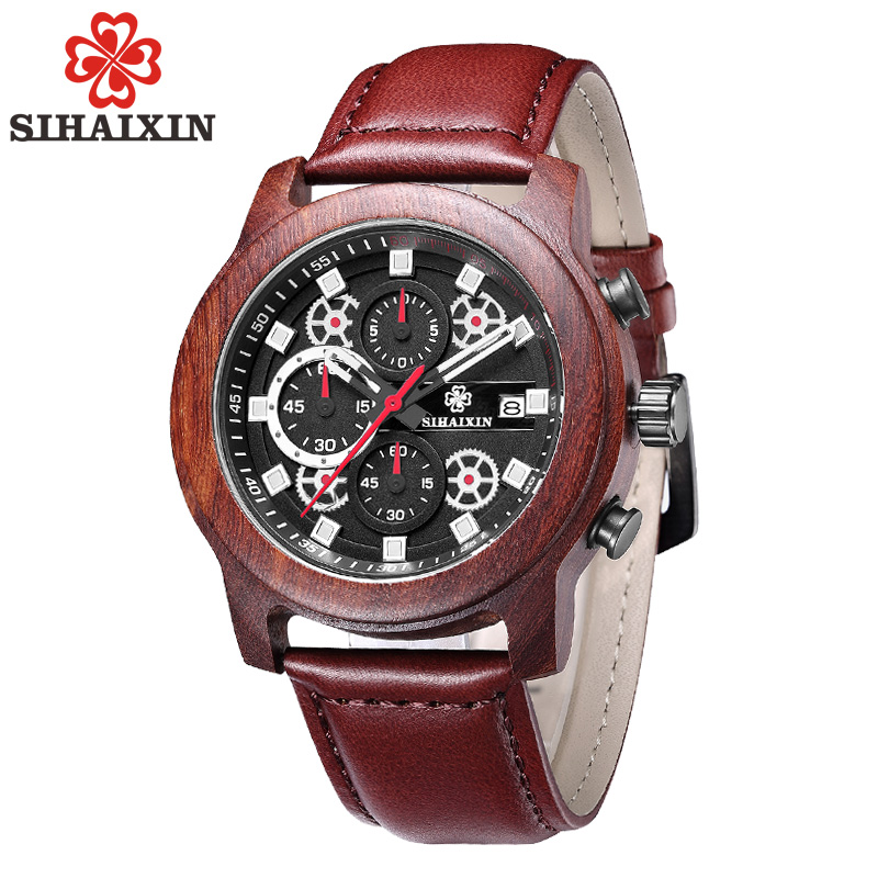 Big Mens Wood Watch Date Waterproof with Leather Strap Quartz Fashion Watches Chronograph Military Sports Men Wristwatches shiweibao cool watch men sport watch men golden big case four time zones military watches date leather strap mens quartz watches