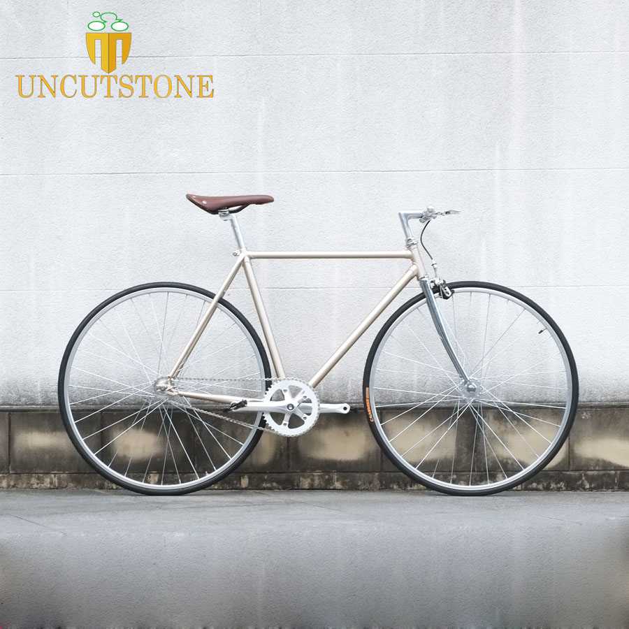 700C Fixed Gear Bike  Retro Steel Frame Sliver Track Single Speed Bike 52cm  Fixie Bike Vintage DIY Frame