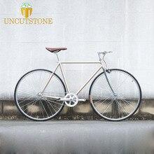 700C Fixed Gear bike  Retro Steel frame sliver Track Single speed Bike 52cm fixie vintage DIY