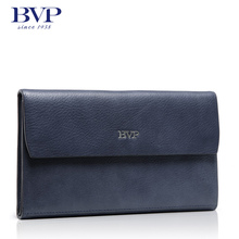BVP High Quality Leather Flap Pocket Bag Men 's 100% Genuine Leather Wrist Clutch Handbag Business Casual Checkboo Wallet S3007